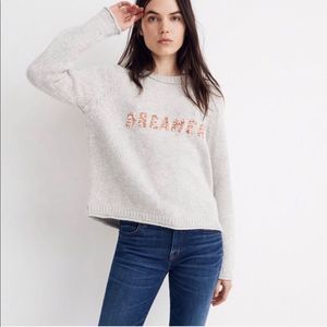 Madewell Dreamer Grey Embroidered Keaton Sweater